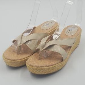 BOC Faux Patent Leather Jute Wedge Thong Sandal